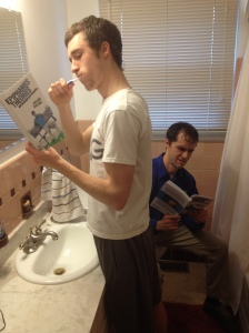 Two of my friends reading my recent book.